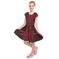 Fractal Red Star Isolated On Black Background Kids  Short Sleeve Dress