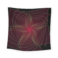 Fractal Red Star Isolated On Black Background Square Tapestry (small)