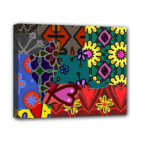 Digitally Created Abstract Patchwork Collage Pattern Canvas 10  x 8