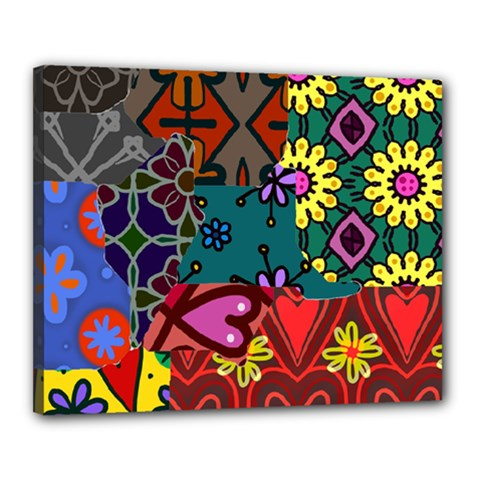 Digitally Created Abstract Patchwork Collage Pattern Canvas 20  X 16