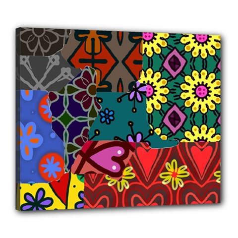 Digitally Created Abstract Patchwork Collage Pattern Canvas 24  X 20