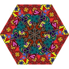 Digitally Created Abstract Patchwork Collage Pattern Mini Folding Umbrellas