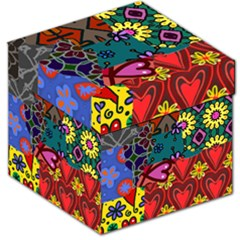 Digitally Created Abstract Patchwork Collage Pattern Storage Stool 12