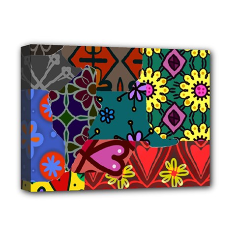 Digitally Created Abstract Patchwork Collage Pattern Deluxe Canvas 16  X 12
