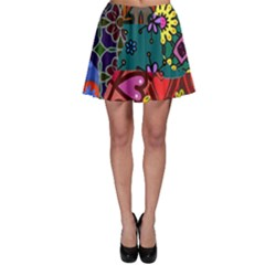 Digitally Created Abstract Patchwork Collage Pattern Skater Skirt