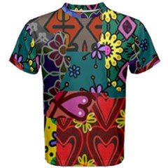 Digitally Created Abstract Patchwork Collage Pattern Men s Cotton Tee