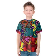 Digitally Created Abstract Patchwork Collage Pattern Kids  Cotton Tee