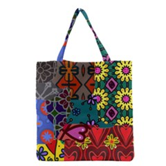 Digitally Created Abstract Patchwork Collage Pattern Grocery Tote Bag