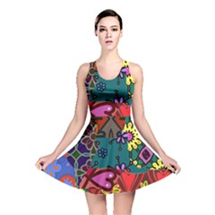 Digitally Created Abstract Patchwork Collage Pattern Reversible Skater Dress
