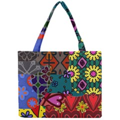 Digitally Created Abstract Patchwork Collage Pattern Mini Tote Bag