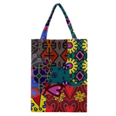 Digitally Created Abstract Patchwork Collage Pattern Classic Tote Bag
