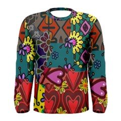 Digitally Created Abstract Patchwork Collage Pattern Men s Long Sleeve Tee