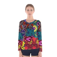 Digitally Created Abstract Patchwork Collage Pattern Women s Long Sleeve Tee