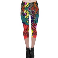 Digitally Created Abstract Patchwork Collage Pattern Capri Leggings