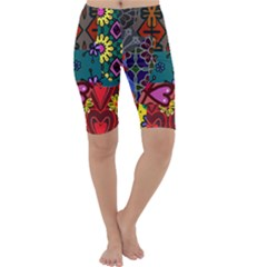 Digitally Created Abstract Patchwork Collage Pattern Cropped Leggings