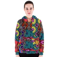 Digitally Created Abstract Patchwork Collage Pattern Women s Zipper Hoodie