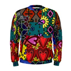 Digitally Created Abstract Patchwork Collage Pattern Men s Sweatshirt