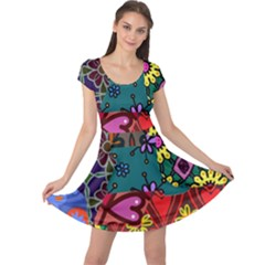 Digitally Created Abstract Patchwork Collage Pattern Cap Sleeve Dresses