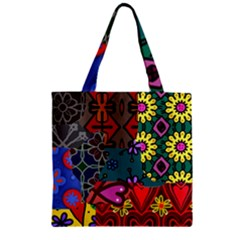 Digitally Created Abstract Patchwork Collage Pattern Zipper Grocery Tote Bag