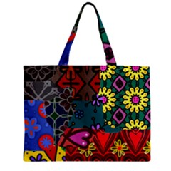 Digitally Created Abstract Patchwork Collage Pattern Zipper Mini Tote Bag