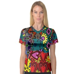 Digitally Created Abstract Patchwork Collage Pattern Women s V Neck Sport Mesh Tee