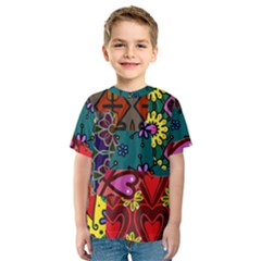 Digitally Created Abstract Patchwork Collage Pattern Kids  Sport Mesh Tee