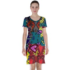 Digitally Created Abstract Patchwork Collage Pattern Short Sleeve Nightdress