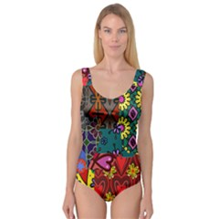 Digitally Created Abstract Patchwork Collage Pattern Princess Tank Leotard