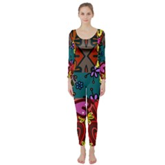 Digitally Created Abstract Patchwork Collage Pattern Long Sleeve Catsuit