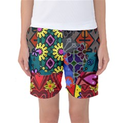 Digitally Created Abstract Patchwork Collage Pattern Women s Basketball Shorts
