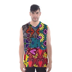 Digitally Created Abstract Patchwork Collage Pattern Men s Basketball Tank Top