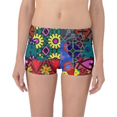 Digitally Created Abstract Patchwork Collage Pattern Boyleg Bikini Bottoms