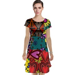 Digitally Created Abstract Patchwork Collage Pattern Cap Sleeve Nightdress
