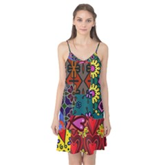 Digitally Created Abstract Patchwork Collage Pattern Camis Nightgown