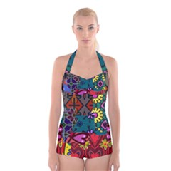 Digitally Created Abstract Patchwork Collage Pattern Boyleg Halter Swimsuit