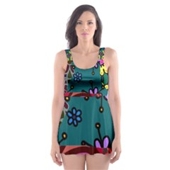 Digitally Created Abstract Patchwork Collage Pattern Skater Dress Swimsuit
