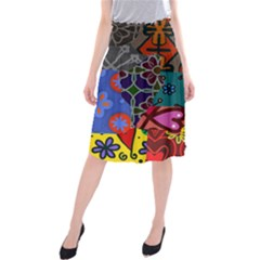 Digitally Created Abstract Patchwork Collage Pattern Midi Beach Skirt