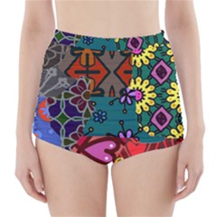 Digitally Created Abstract Patchwork Collage Pattern High Waisted Bikini Bottoms