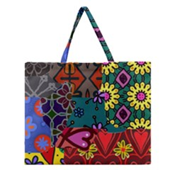 Digitally Created Abstract Patchwork Collage Pattern Zipper Large Tote Bag