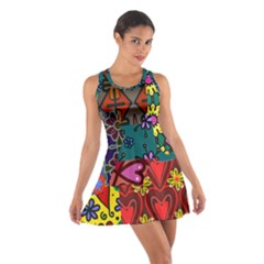 Digitally Created Abstract Patchwork Collage Pattern Cotton Racerback Dress