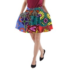 Digitally Created Abstract Patchwork Collage Pattern A Line Pocket Skirt