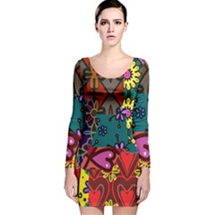 Digitally Created Abstract Patchwork Collage Pattern Long Sleeve Velvet Bodycon Dress