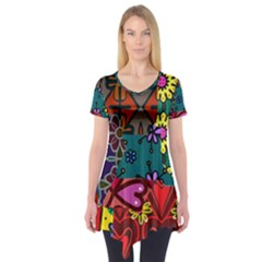 Digitally Created Abstract Patchwork Collage Pattern Short Sleeve Tunic