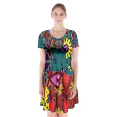 Digitally Created Abstract Patchwork Collage Pattern Short Sleeve V Neck Flare Dress