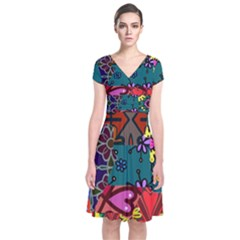 Digitally Created Abstract Patchwork Collage Pattern Short Sleeve Front Wrap Dress