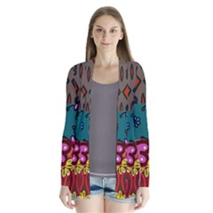 Digitally Created Abstract Patchwork Collage Pattern Cardigans