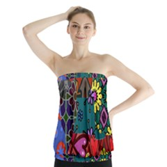 Digitally Created Abstract Patchwork Collage Pattern Strapless Top