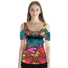 Digitally Created Abstract Patchwork Collage Pattern Butterfly Sleeve Cutout Tee
