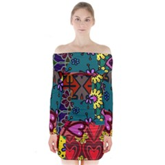 Digitally Created Abstract Patchwork Collage Pattern Long Sleeve Off Shoulder Dress