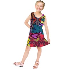 Digitally Created Abstract Patchwork Collage Pattern Kids  Tunic Dress